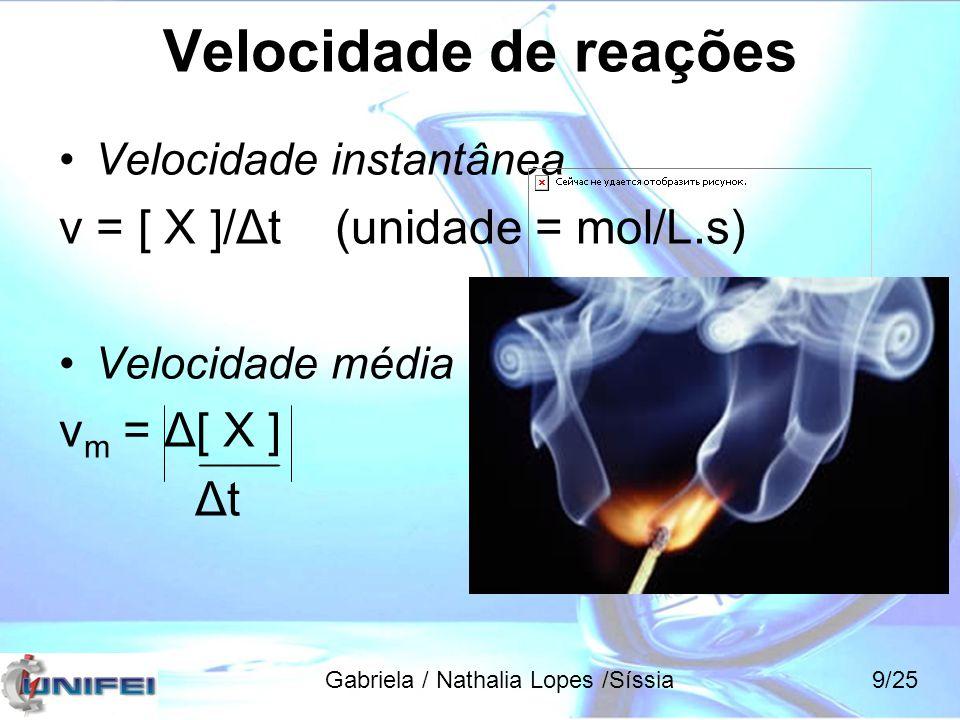 Velocidade de reações v = [ X ]/Δt (unidade = mol/L.s) vm = Δ[ X ] Δt